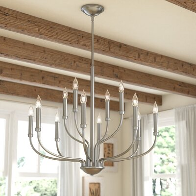 Kieu 12-Light Candle-Style Chandelier Finish: Antique Nickel