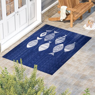 Concord Blue/Ivory Indoor/Outdoor Area Rug Rug Size: Rectangle 5 x 7