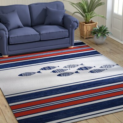 Concord Blue/Red Indoor/Outdoor Area Rug Size: Rectangle 8 x 10