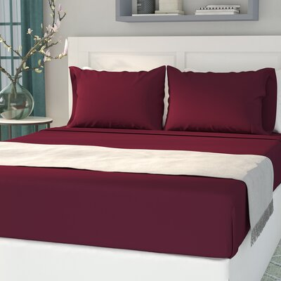 Sariah Super Soft 4 Piece Sheet Set Color: Burgundy