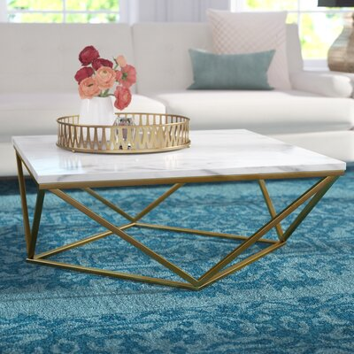 Robeson Marble Coffee Table Table Base Finish: Gold