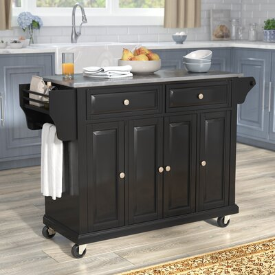 Pottstown Kitchen Island with Stainless Steel Top Base Finish: Black
