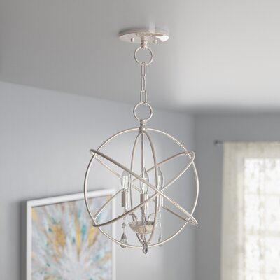 Auberta 3-Light Globe Pendant Finish: Polished Nickel, Size: 17 H x 15 W x 15 D