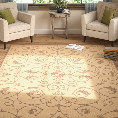 Charlene Beige/Brown Area Rug Rug Size: Rectangle 76 x 109