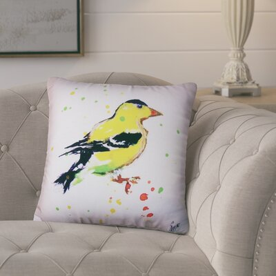 Aleyna Goldfinch No Cord Outdoor Throw Pillow
