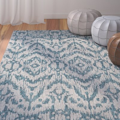 Fonwhary Aqua Indoor/Outdoor Area Rug Rug Size: Rectangle 53 x 76