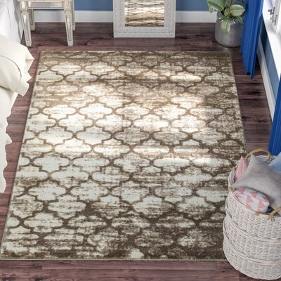 Droylsden Tan/Cream Area Rug Rug Size: 5'2