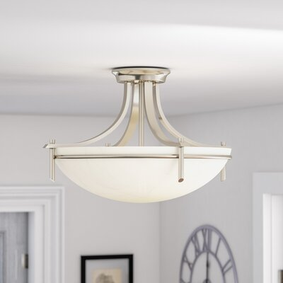 Ferrante Semi 3-Light  Flush Mount Finish: Brushed Nickel