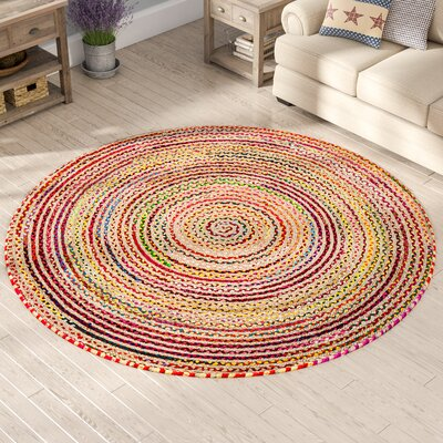 Petrolia Handmade Pink/Yellow/Green Area Rug Rug Size: Round 8