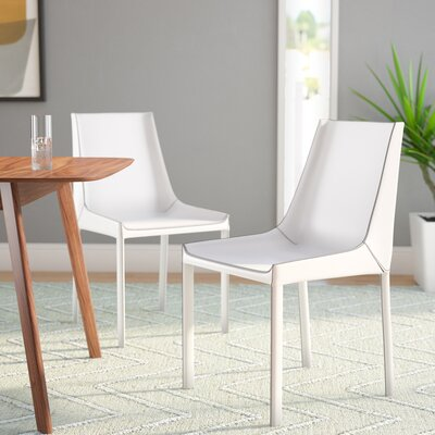 Galen Genuine Leather Upholstered Dining Chair (Set of 2) Upholstery: White