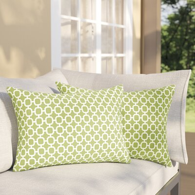 Samantha Geometric Indoor/ Outdoor Lumbar Pillow Color: Pear Green