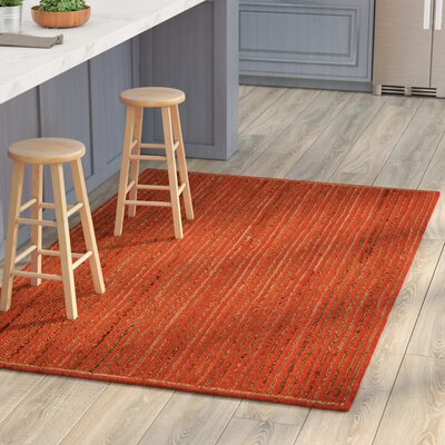 Latour Racetrack Hand-Loomed Orange Area Rug Rug Size: 5 x 8