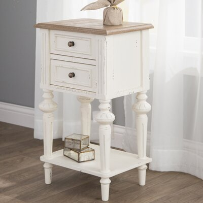 Saire Indoor 2 Drawer End Table Color: Antique White