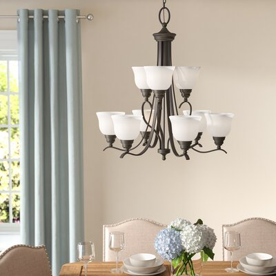 Busti 9-Light Shaded Chandelier Finish: Heirloom Bronze