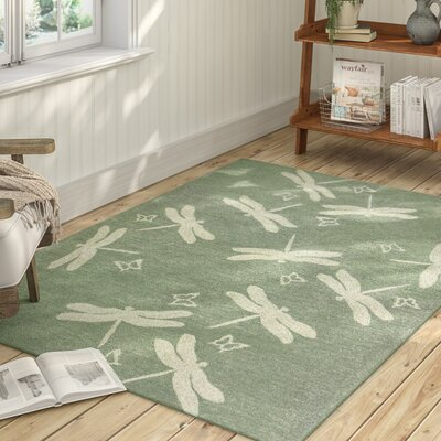 Castellane Dragonfly Field Hand Hooked Sage Green Indoor/Outdoor Area Rug Rug Size: 5 x 7