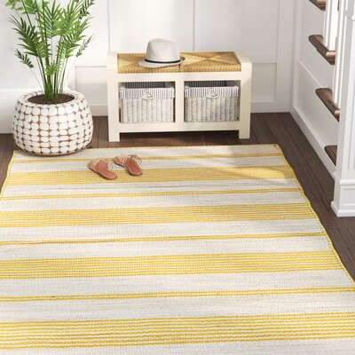 Alicea Hand-Woven Gold Area Rug Rug Size: Rectangle 4 x 6