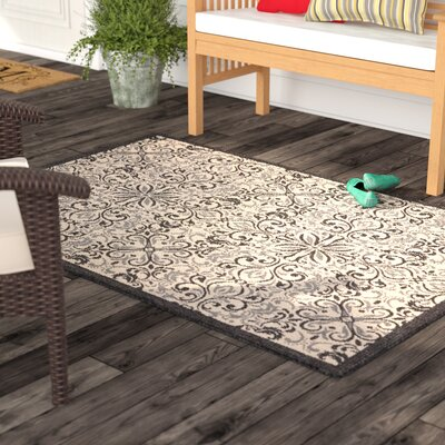 Ashby Ivory/Charcoal Indoor/Outdoor Area Rug Rug Size: Rectangle 93 x 129