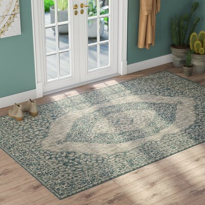 Myers Light Gray/Teal Indoor/Outdoor Area Rug Rug Size: Rectangle 53 x 77