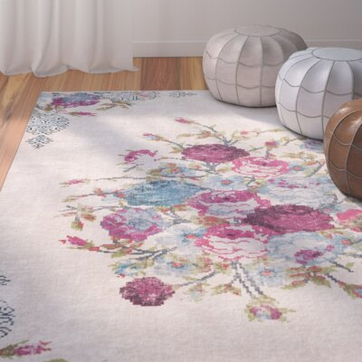 Janiyah Floral and Plants Ivory Area Rug Rug Size: Rectangle 3 x 5
