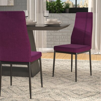 Cerise Modern Upholstered Dining Chair Color: Purple