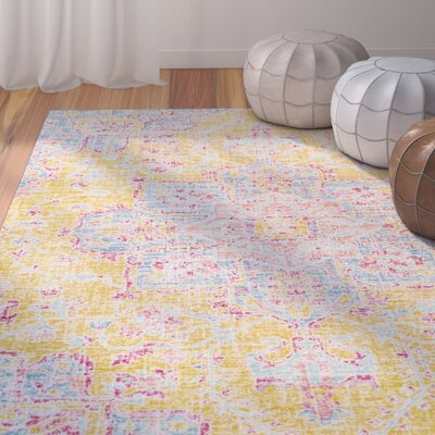 Lyngby-Taarb�k Bright Yellow Area Rug Rug Size: Rectangle 93 x 13