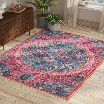 Mellie Blue/Red/Pink Area Rug Rug Size: Rectangle 9 x 13