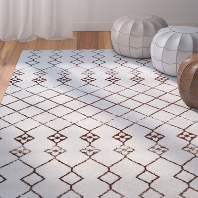Nde Transitional Ivory/Brown Area Rug Rug Size: 53 x 73