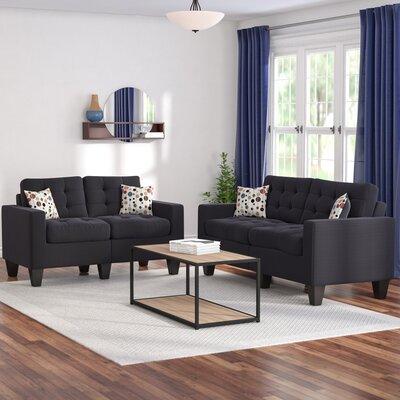 Amia 2 Piece Living Room Set Upholstery: Black