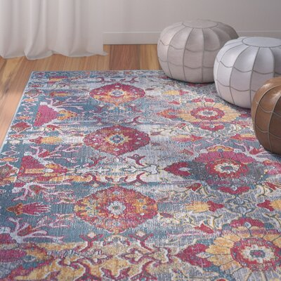 Dominick Modern Floral Gray Area Rug Rug Size: Rectangle 53 x 73