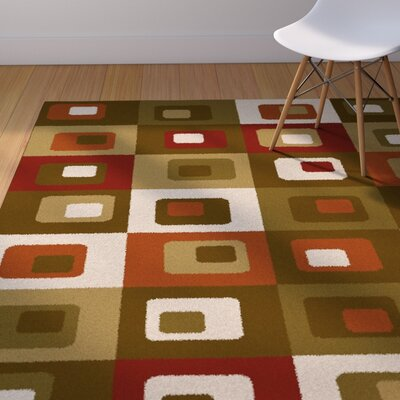 Justen Brown/Green Area Rug Rug Size: 53 x 72