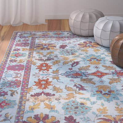 Dominick Modern Floral Blue/Pink Area Rug Rug Size: Rectangle 53 x 73