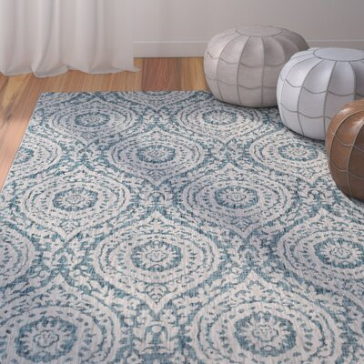 Fonwhary Classic Floral and Plants Aqua Indoor/Outdoor Area Rug Rug Size: Rectangle 2 x 3