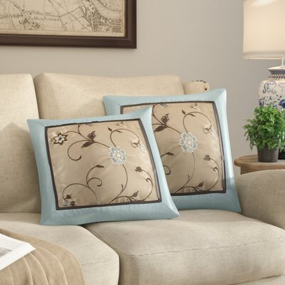 Brierwood Embroidered Throw Pillow Color: Blue