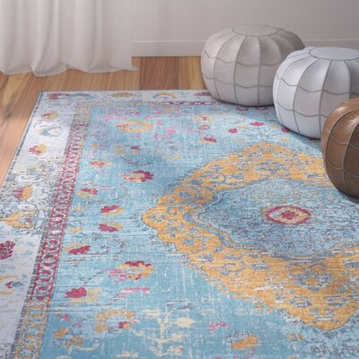 Dominick Modern Aqua Area Rug Rug Size: Rectangle 53 x 73