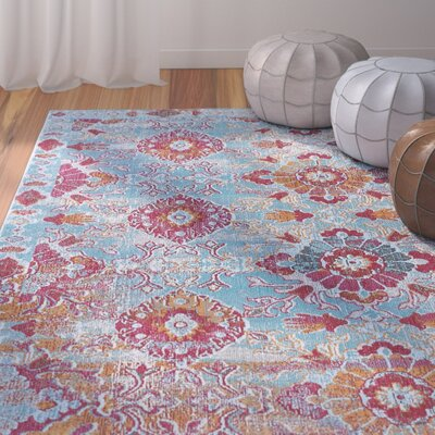 Dominick Modern Rectangle Blue/Pink Area Rug Rug Size: Rectangle 53 x 73