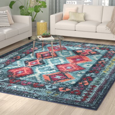 Burchell Aqua Area Rug Rug Size: Rectangle 9 x 12