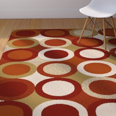 Mack Burgundy/Green Area Rug Rug Size: 53 x 72