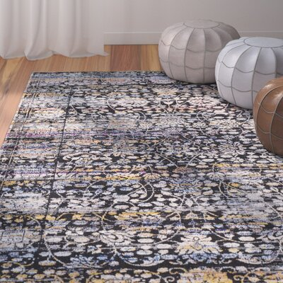 Walferdange Black Area Rug Rug Size: Rectangle 93 x 121