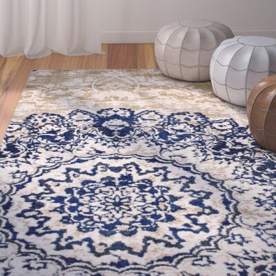 Nde Transitional Medallion Blue/Beige Area Rug Rug Size: 53 x 73