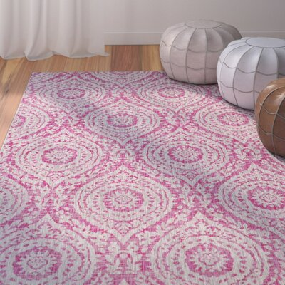 Fonwhary Bright Pink/Light Gray Indoor/Outdoor Area Rug Rug Size: Rectangle 53 x 76