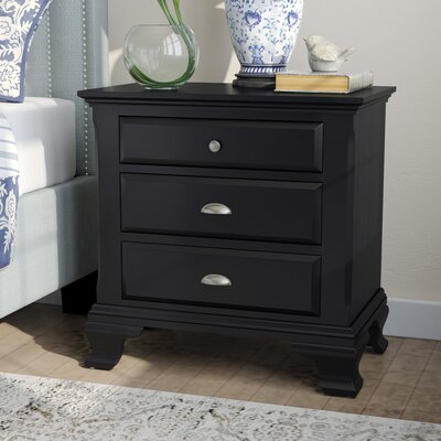 Fellsburg 3 Drawer Nightstand Color: Black