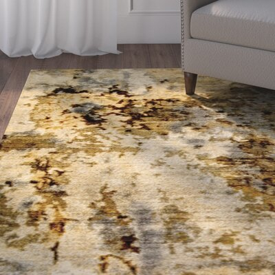 Itasca Gray/Brown/Yellow Area Rug Rug Size: 92 X 122