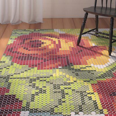 Trudy Light Green/Red Area Rug