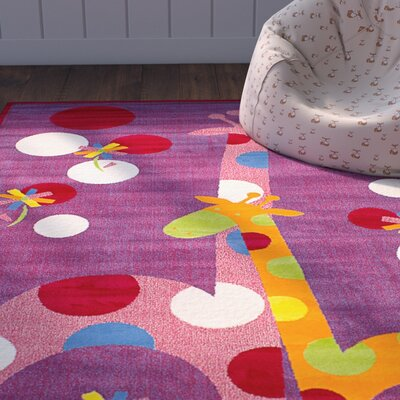 Luann Red Giraffe Area Rug