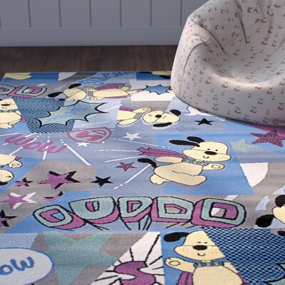 Luann Slate Blue Dog Area Rug