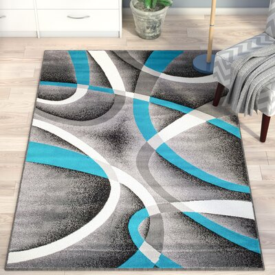Rick Gray/Turquoise Indoor Area Rug Rug Size: 410 x 72
