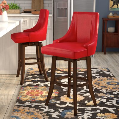 Cajun 29 Swivel Bar Stool (Set of 2) Finish: Red