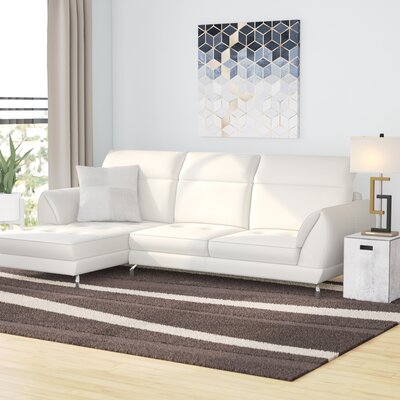 Brinn Reclining Sectional Upholstery: White, Orientation: Right Hand Facing