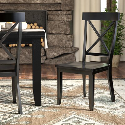 Parkerton Solid Wood Dining Chair Finish: Black