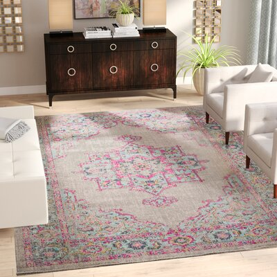 Bunn Gray/Light Blue/Pink Area Rug Rug Size: Rectangle 51 x 76